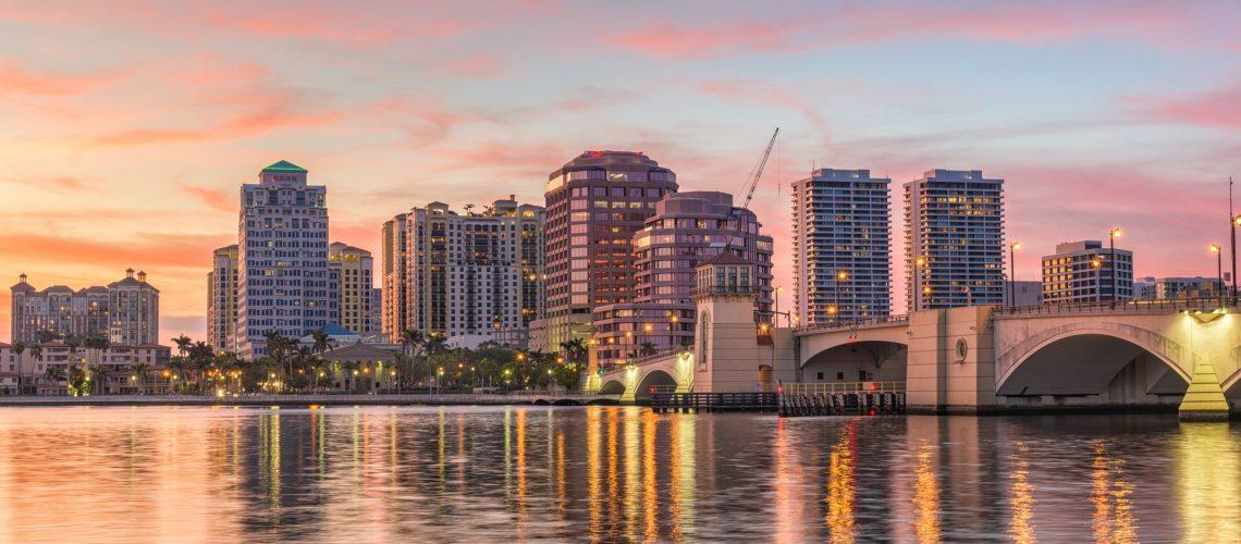 West Palm Beach, Florida, USA downtown skyline.